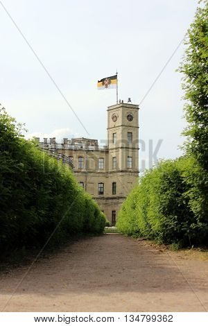 Gatchina city flag on the roof of the Gatchina Palace.. 17th century