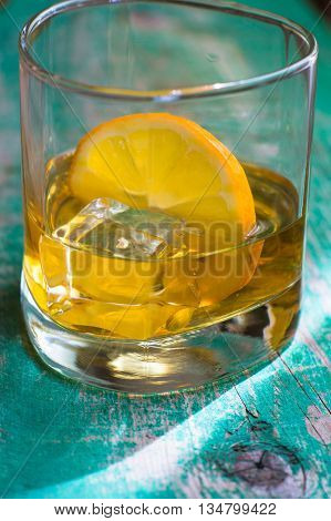 Glass Of Wiskey, Lemon And Ice