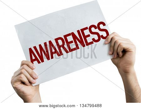 Awareness placard isolated on white background