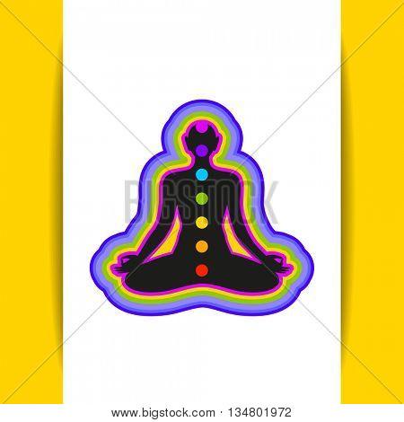 Yoga Lotus. Human silhouette meditating with chakras and aura. Yoga logo - design template. Concept for Yoga studio, Ayurveda center, Spa, Meditation club. Vector graphic illustration.