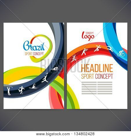 Vector template design strips of colored rings and waves.Concept sport brochure, Web sites,page,leaflet signs Brazil and text separately. Sport concept banners with symbols of sports competitions.