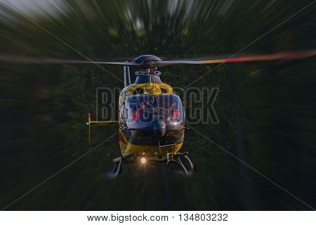 Bialystok Poland - June 5 2016: Abstractly presented a rescue helicopter . Applied blur effect