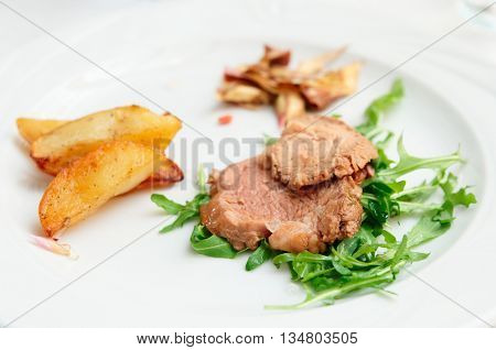 Delicious Italian chianina beef dish, close-up