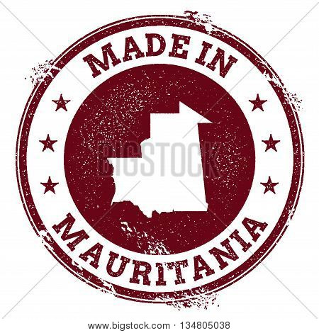 Mauritania Vector Seal. Vintage Country Map Stamp. Grunge Rubber Stamp With Made In Mauritania Text