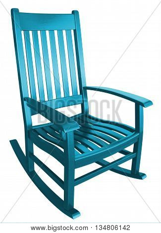 Teal cyan rocking chair sitting on a porch in summer relaxing at a beach house or mountain house
