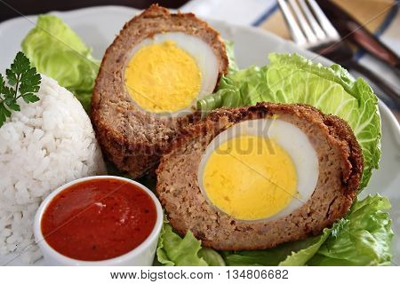 Scotch eggs ( meatballs with hard-boiled eggs)