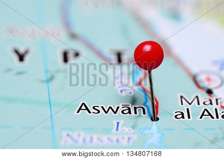 Aswan pinned on a map of Egypt