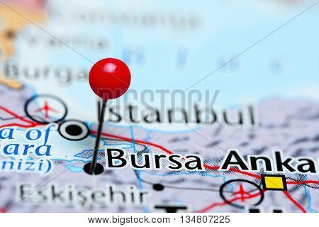 Bursa pinned on a map of Turkey