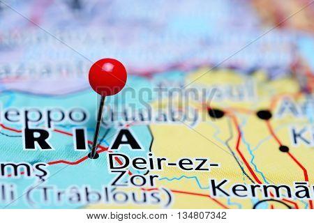 Deir-ez-Zor pinned on a map of Syria