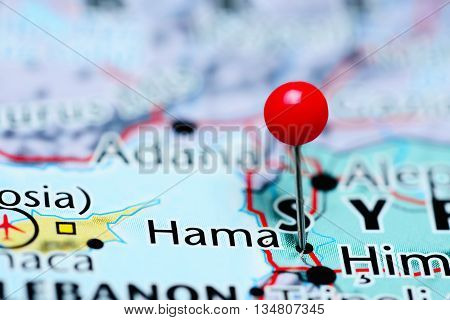 Hama pinned on a map of Syria