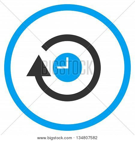 Repeat Clock vector bicolor icon. Image style is a flat icon symbol inside a circle, blue and gray colors, white background.