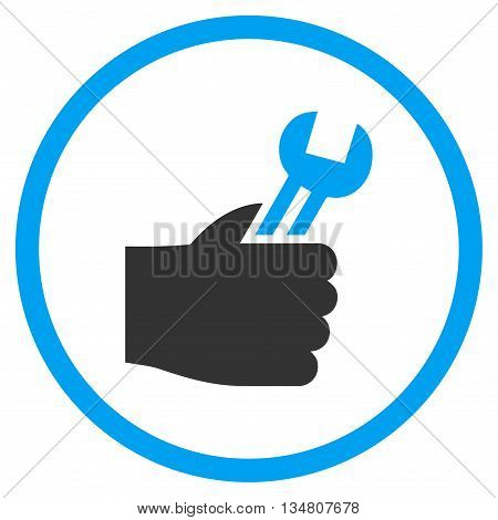 Service Hand vector bicolor icon. Image style is a flat icon symbol inside a circle, blue and gray colors, white background.