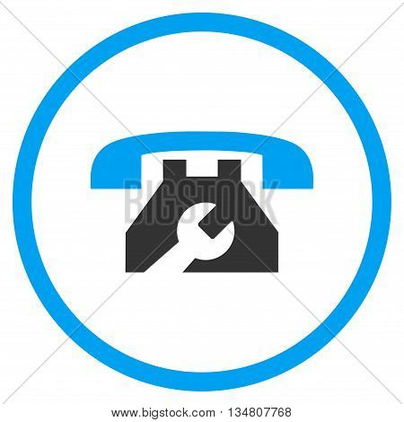 Service Phone vector bicolor icon. Image style is a flat icon symbol inside a circle, blue and gray colors, white background.
