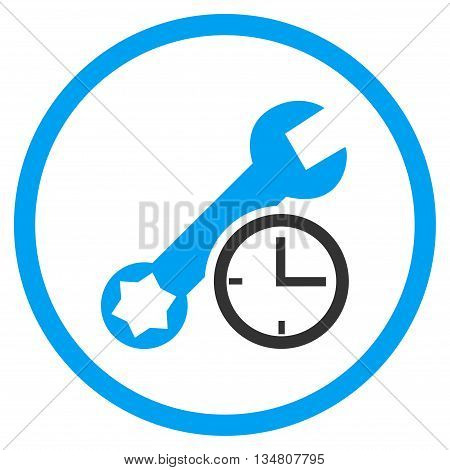 Service Time vector bicolor icon. Image style is a flat icon symbol inside a circle, blue and gray colors, white background.