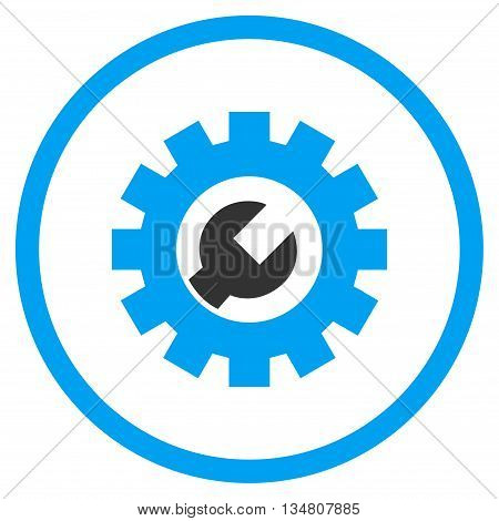 Tech Maintenance vector bicolor icon. Image style is a flat icon symbol inside a circle, blue and gray colors, white background.