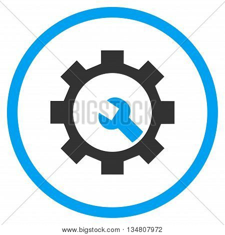 Configuration Tools vector bicolor icon. Image style is a flat icon symbol inside a circle, blue and gray colors, white background.