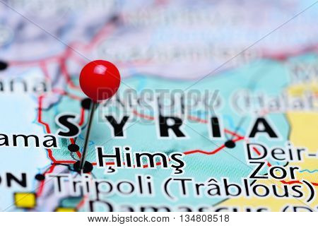 Hims pinned on a map of Syria