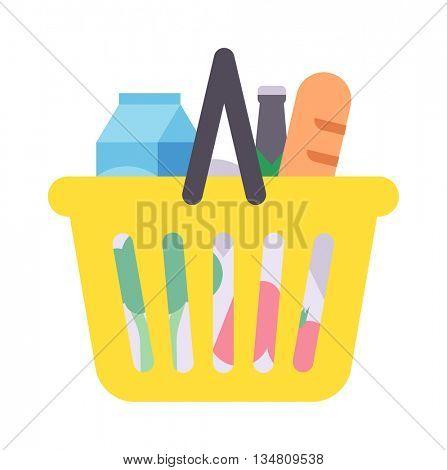 Shop product basket vector illustration.