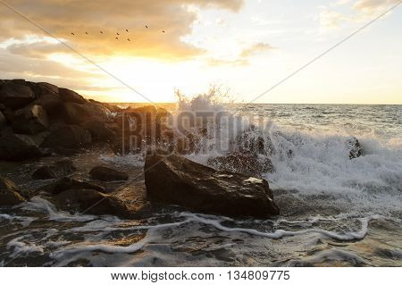 Waves crashing is an ocean seascape with a wave crashing up against a rock throwing water into the air.