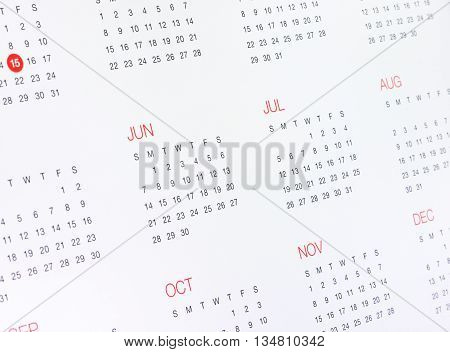 A Calendar with months and days on white.