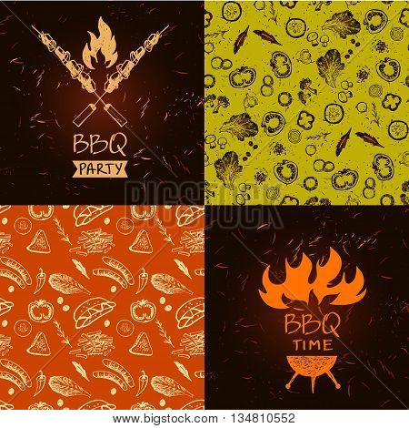 Set Of Vector Lettering Hand Drawn Logo With Fire For Barbecue P