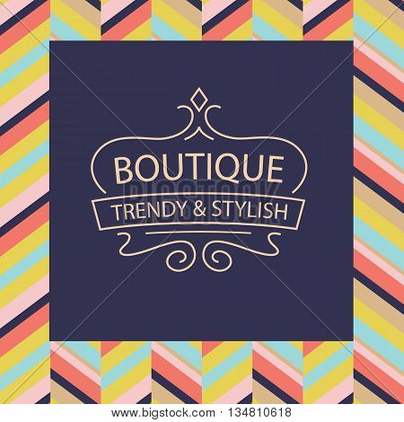 Vector logo for boutique clothing accessories jewelry and ornaments. Trendy and stylish. Vintage. The premium segment. Identification elements logo background colors decorative ribbon.