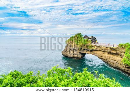 Tanah Lot Temple is a hindu Temple on the Island of BaliIndonesia. It's one of the very popular tourist destinations on the island.