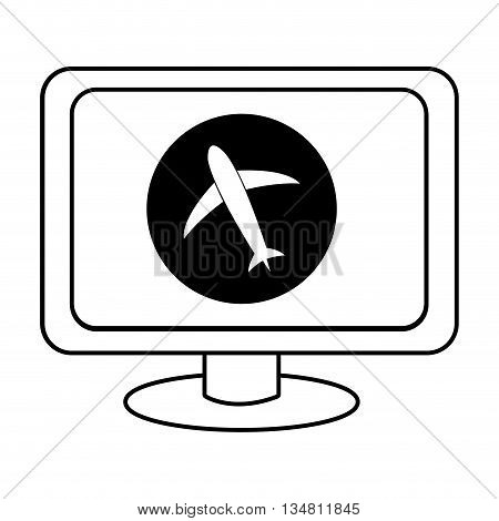electronic device screen with black circle and airplane icon over isolated background, vector illustration