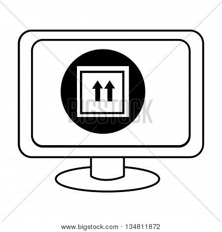 electronic device screen with black circle and box and arrows icon over isolated background, vector illustration