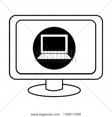 electronic device screen with black circle and laptop icon over isolated background, vector illustration