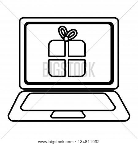 laptop with a gift icon on the screen over isolated background, vector illustration