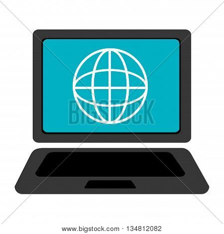 black laptop with blue screen and white world map over isolated background, vector illustration