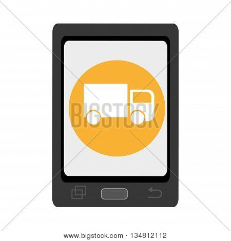 black smartphone with yellow circle and white truck icon over isolated background, vector illustration