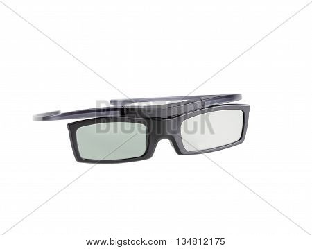 electronic three-D eyeglasses for LCD TV isolated on white background