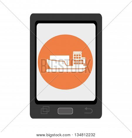 black smartphone with orange circle and white cargo ship icon over isolated background, vector illustration