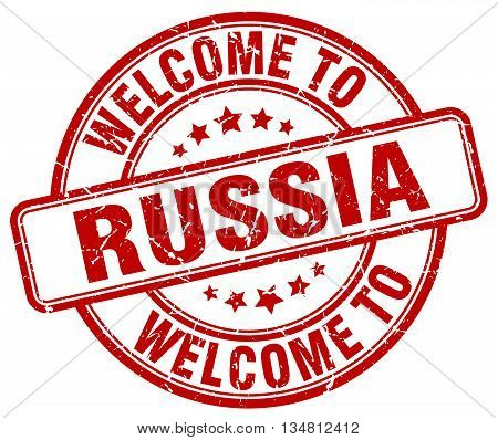 welcome to Russia stamp. welcome to Russia.