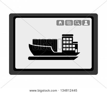 black electronic device with black cargo ship and media  icon on the screen over isolated background, vector illustration