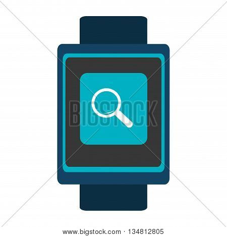 blue  smart watch with blue frame and white lens icon on the screen over isolated background, vector illustration