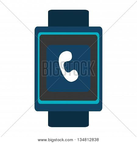 blue  smart watch with blue frame and white phone icon on the screen over isolated background, vector illustration