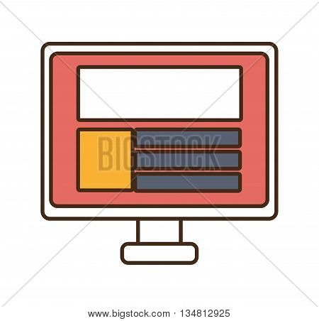 white electronic device screen with colorful squares and stripes over isolated background, vector illustration