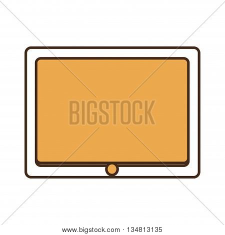white tables with yellow screen over isolated background