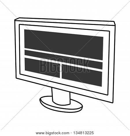 electronic device screen with squares and stripes over isolated background, vector illustration