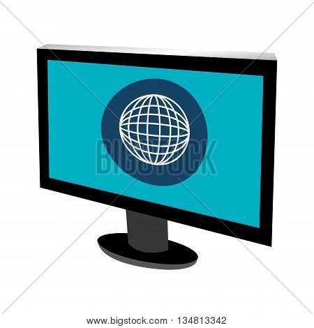 black electronic device with blue screen and white world map over isolated background, vector illustration