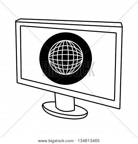 electronic device screen with black circle and white world map icon over isolated background, vector illustration