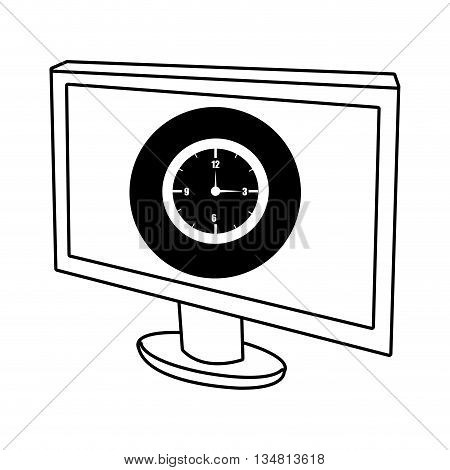 electronic device screen with black circle and white clock icon over isolated background, vector illustration