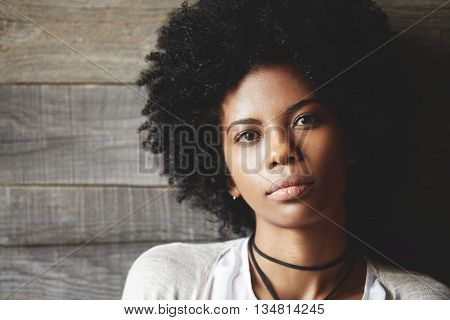 Beauty And Skin Care Concept. Attractive Stylish Dark-skinned Girl With Clean Healthy Skin Looking A
