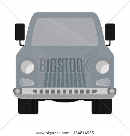 Grey Automobile ahead cartoon design over flat and isolated bakground