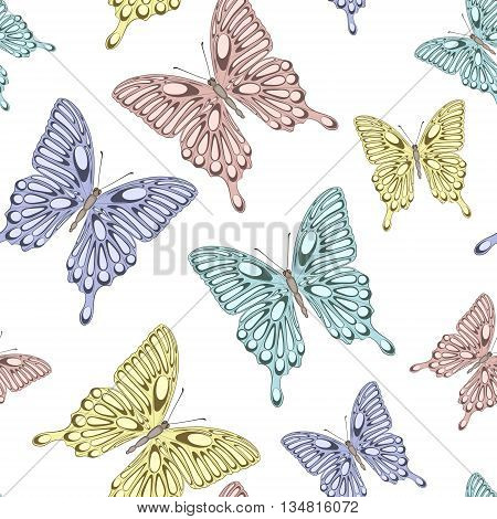 Beautiful seamless background with bright colorful butterflies . Hand-drawn contour lines and strokes. Perfect for background greeting cards and invitations to the day of the wedding birthday