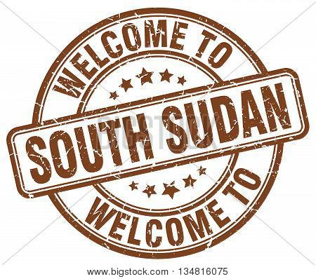 welcome to South Sudan stamp. welcome to South Sudan.