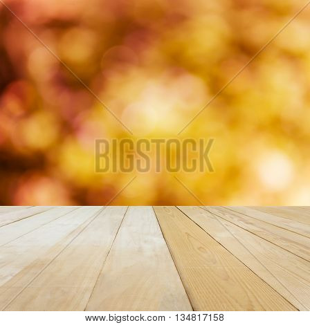 Blank Area Or Space Table Top On Bokeh Orange And Yellow Spring Summer Mood Nature Background, Joint